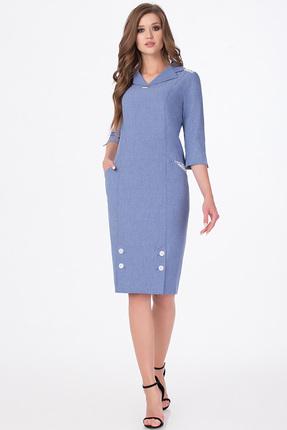 Купить Платье Erika Style 537-1 голубой, Повседневные платья, 537-1, голубой, Вискоза 72%, ПЭ 25%, спандекс 3%., Мультисезон