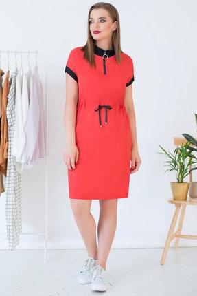 Спортивное платье ЮРС 18-809-1 коралл с красным