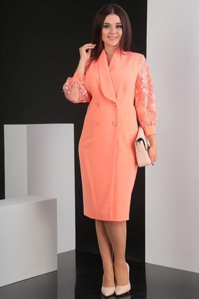 Купить Платье Мода-Юрс 2421 персик, Платья, 2421, персик, ПЭ 100% (плательная), рукава - гипюр, Мультисезон