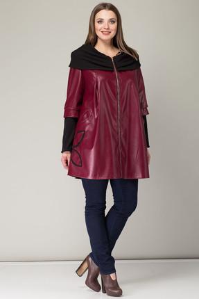 Купить Пальто Michel Chic 343 бордовый, Пальто, 343, бордовый, эко-кожа + трикотажный довяз 100%пэ, Мультисезон