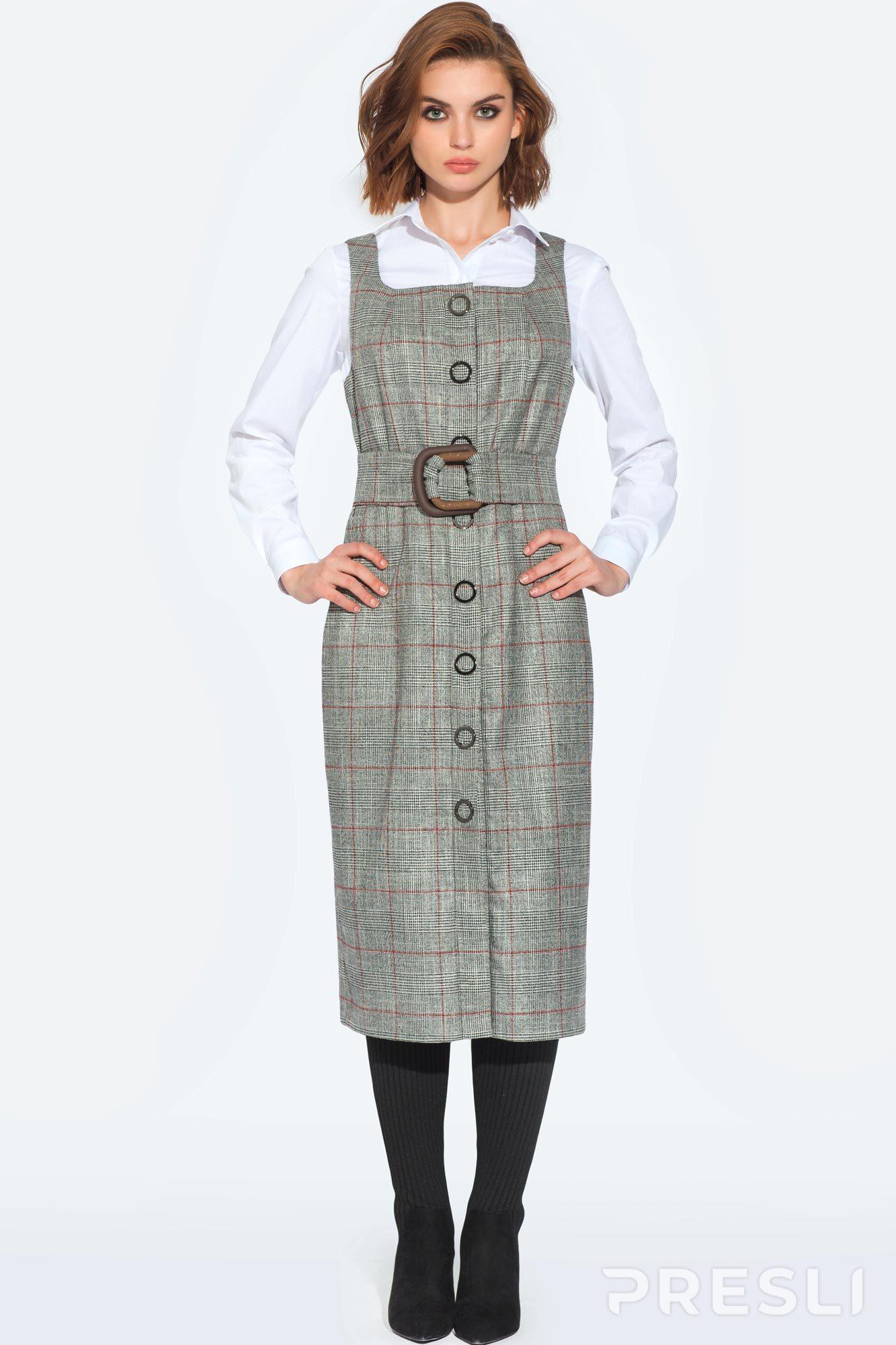 7bd9a760886 Сарафан Vesnaletto 1846 серый - Женская одежда