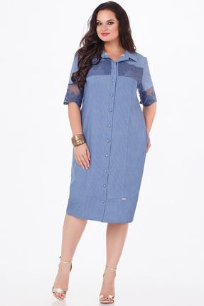 Купить Платье Erika Style 663 голубой, Платья, 663, голубой, хлопок 56%, ПЭ 44%, Лето