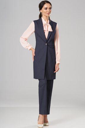Купить Комплект брючный Lady Secret 2551 синий с пудрой, Брючные, 2551, синий с пудрой, Жилет и брюки: Вискоза 48%+ПЭ 49%+Cпандекс 3% Блузка: Вискоза 49%+Нейлон 48%+Спандекс 3%, Мультисезон