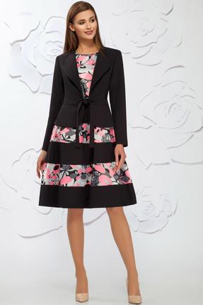 Купить Комплект плательный Ivelta plus 578 черный с розовым, Плательные, 578, черный с розовым, Жакет - 96% п/э, 4% спандекс Платье - 97% п/э, 3% эластан, Мультисезон