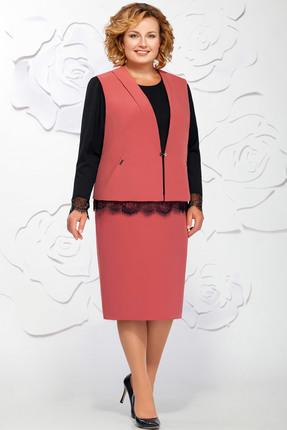 Купить Комплект юбочный Ivelta plus 3568 розовые тона с черным, Юбочные, 3568, розовые тона с черным, Жилет - 96% п/э, 4% спандекс Блуза - 100% п/э Юбка - 96% п/э, 4% спагдекс, Мультисезон