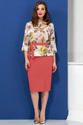 Купить Комплект юбочный Ivelta plus 2440 розовые тона, Юбочные, 2440, розовые тона, Блуза - 100% п/э Юбка - 91% п/э, 9% спандекс, Лето