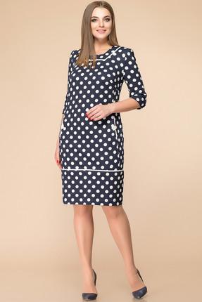 Купить Платье Romanovich style 1-1233 синий горох , Платья, 1-1233, синий горох , Трикотаж (95% ПЭ, 5% спандекс), Мультисезон