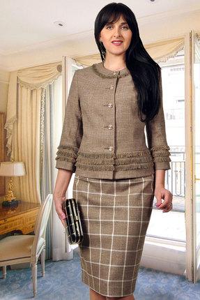 Комплект юбочный Миа Мода 869-1 бежево-коричневый