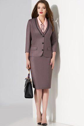 Купить Комплект юбочный Lissana 3454 серый с розовым, Юбочные, 3454, серый с розовым, Жакет и юбка: ПЭ 70%+Вискоза 27%+Спандекс 3% Блузка: Жоржет , Мультисезон