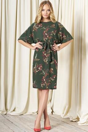 Купить Платье Bazalini 3259 зеленый в цветы, Повседневные платья, 3259, зеленый в цветы, Костюмно-платьевая. стрейч - Вискоза 87%, ПЭ 13%, Мультисезон