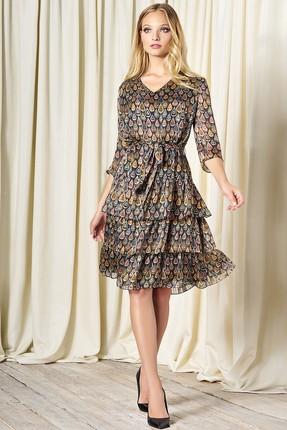 Купить Платье Bazalini 3285 коричневые тона, Повседневные платья, 3285, коричневые тона, Шифон - ПЭ100%, Мультисезон