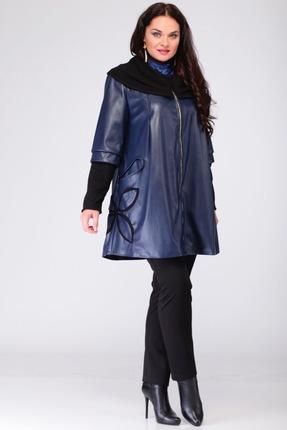 Купить Пальто Michel Chic 343 Темно синий, Пальто, 343, Темно синий, эко-кожа + трикотажный довяз, Мультисезон