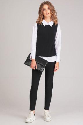 Купить Комплект брючный Denissa Fashion 1161 черный, Брючные, 1161, черный, Состав жилета и брюк: 71% пэ, вискоза 23%, спандекс 6% Состав блузы: хлопок 76%, ПЭ 22%, эластан 2%, Мультисезон