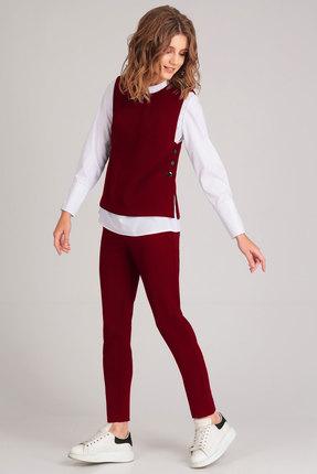 Купить Комплект брючный Denissa Fashion 1161 бордо, Брючные, 1161, бордо, Состав жилета и брюк: 71% пэ, вискоза 23%, спандекс 6% Состав блузы: хлопок 76%, ПЭ 22%, эластан 2%, Мультисезон