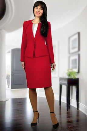 Купить Комплект юбочный Миа Мода 877-2 красный, Юбочные, 877-2, красный, Блуза: ПЭ 100% Жакет и юбка: ПЭ 95%, эластан 5% Подкладка ПЭ 100%., Мультисезон