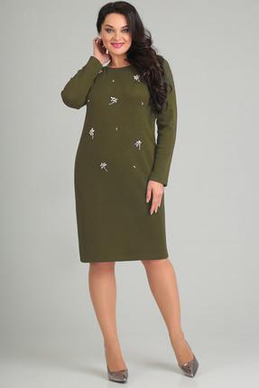 Купить Платье Andrea Style 0082 олива, Платья, 0082, олива, ПЭ 55%, вискоза 41 %, спандекс 4%, Мультисезон