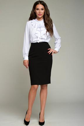 Купить Блузка Teffi style 1360 белый, Блузки, 1360, белый, шифон-стрейч: 94%пэ, 6% спандекс, Мультисезон