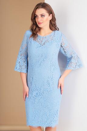 Купить Платье Ксения Стиль 1549 голубой, Вечерние платья, 1549, голубой, п/э 71%, вискоза 23%, спандекс 6%, Мультисезон