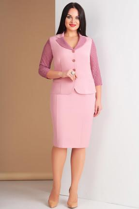 Купить Комплект юбочный Ксения Стиль 1562 розовые тона, Юбочные, 1562, розовые тона, п/э 71%, вискоза 23%, спандекс 6% (костюмно-плательная), Мультисезон