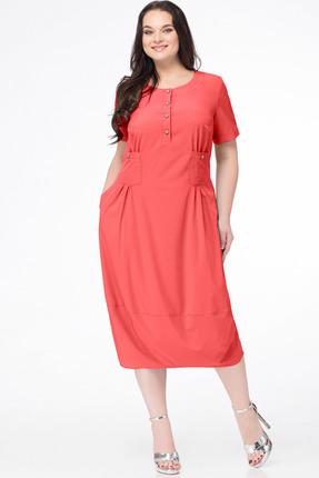 Купить Платье Erika Style 648-1 коралл, Платья, 648-1, коралл, вискоза 72%, ПЭ 25%, спандекс 3%, Мультисезон