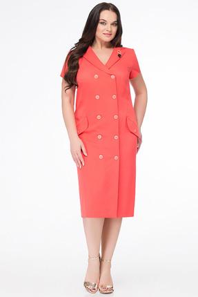 Купить Платье Erika Style 655 коралл, Платья, 655, коралл, вискоза 72%, ПЭ 25%, спандекс 3%, Мультисезон