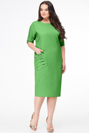 Купить Платье Erika Style 633-5 трявяной, Платья, 633-5, трявяной, вискоза 72%, ПЭ 25%, спандекс 3%, Лето