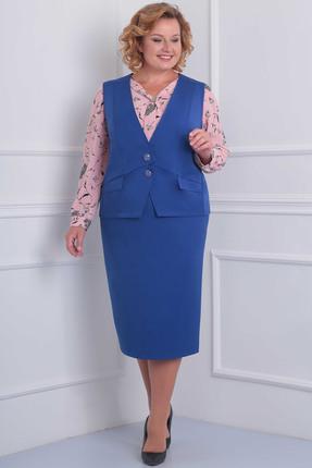 Купить Комплект юбочный Орхидея Люкс 856 синий с розовым, Юбочные, 856, синий с розовым, Жакет, юбка - поливискоза (пэ 63%, вискоза 34%, пу 3%) Блуза - блузочная ткань (пэ 100%), Мультисезон