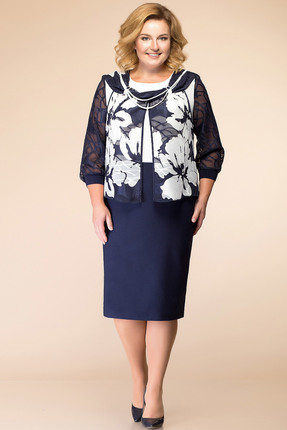 Купить Платье Romanovich style 1-956 темно-синий с белым, Платья, 1-956, темно-синий с белым, Низ платья - 70% ПЭ, 25% вискоза, 5% спандекс. Верх - 95% ПЭ, 5% спандекс, Мультисезон